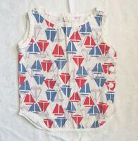 Vintage Girls 50's Retro Sailboat Red White & Blue Shirt Dress Romper CUTE! Sz 3