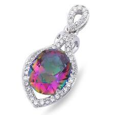 "Elegant Rainbow Topaz & Cubic Zirconia .925 Sterling Silver Pendant 1"" long"