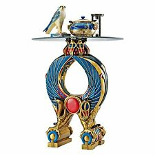 QL136220 - Wings of Horus Egyptian Altar Side Table, Full Color - Glass Top!