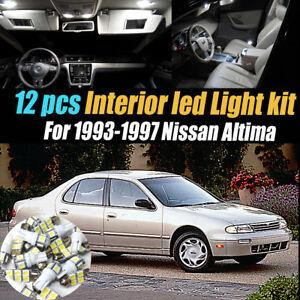 12Pc Super White Interior LED Light Bulb Kit Pack for 1993-1997 Nissan Altima
