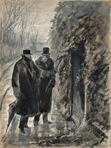 ALFRED BRYAN 1852-1899 Watercolour Painting GENTLEMAN COUNTRY SCENE 19TH CENTURY