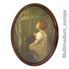 Jugendstil Kind mit Vogel bild oval Holz Rahmen Lithographie picture frame
