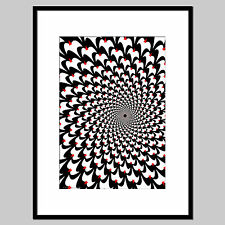 A3 Birds optical illusion print, unframed black and white wall art poster