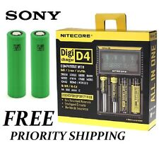 TWO Sony VTC4 Batteries AND All In One NITECORE Digi D4 Universal Smart Charger
