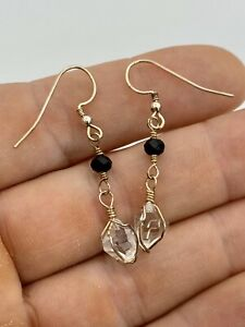 Authentic Natural NY Herkimer Diamonds & Black Spinel Sterling Silver Earrings