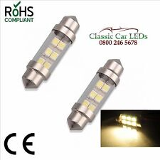 2 x 37mm Warm White Festoon 12v Caravan Camper Motorhome Boat Marine LED Bulbs