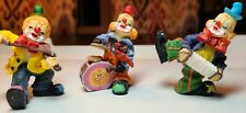 Vintage Lot Of 3 Clown Musician Figurines