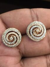 1.37 Cts Round Brilliant Cut Diamonds Stud Earrings In Solid 14K Multi-Tone Gold