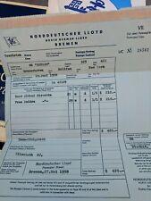 1958 Norddeutscher Lloyd Bremen M.S. Berlin Passage Contract, etc