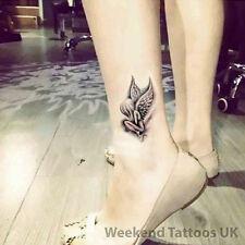 3 Pequeño Negro para Mujeres Ala De Ángel Hadas Pegatina Tatuaje Temporal Arte Pegatina de cuerpo