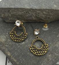 Urban Trend Woven arc disc moon & Crystal Gold Stud Ear Jacket Earrings Cuff