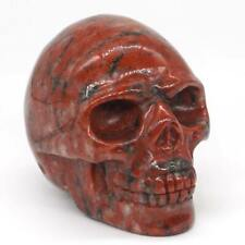 "Human Skull 2"" Red Flower Jasper Natural Gemstone Carved Crystal Healing #2912"
