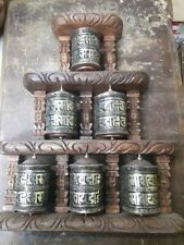 6 Tibetan Prayer Wheels Wall Hanging   Om mani padme hum  Handmade  Nepal