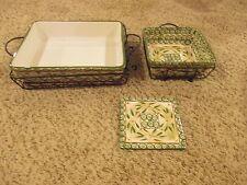 Temp-Tations By Tara Old World Green Rectangle  Square Baking Dish Stand Trivet