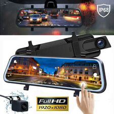 "CA 1080P Rear View Mirror Video Camera 10"" Touch Screen Car DVR Dual Lens FHD"
