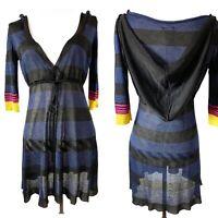 New Miss Sixty Dress Hooded Striped Metallic Blue Navy Multi Y2K 00s L M