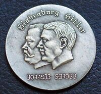 WW2 GERMAN COLLECTORS COIN HINDENBURG WITH HITLER 1933