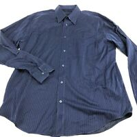 Bugatchi Uomo Shirt Button Down Up Striped Mens Size Large L Blue Long Sleeve