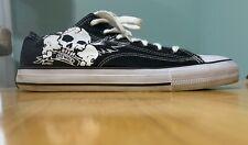 Rare AIRWALK Black Canvas Skate Shoes SKULLS & WINGS Skater Low Top Retired
