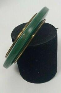Chunky Bangle ~ Brass Inner ring & GREEN  plastic ~Statement bracelet Art Deco A