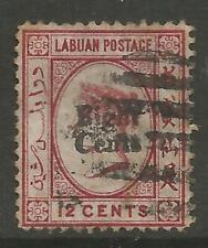 STAMPS-LABUAN. 1881. 8c on 12c Carmine. Type 5 Overprint. SG: 15. Used