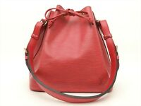 Louis Vuitton Authentic Epi Leather Red Petit Noe Shoulder Tote Bag Auth LV