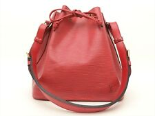 Louis Vuitton Authentic Epi Leather Red Petit Noe Shoulder Tote Bag Auth LV