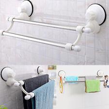 Suction Cup Bathroom Kitchen Double Towel Rack Rail Shelf/Rack Hanger Bar Holder