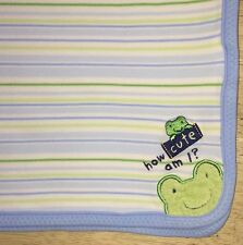 Carters Just One Year Green Frog Blue Baby Blanket Stripes How Cute Am I?