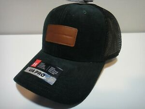 Under Armour Mens Green Suede Leather Logo Pro Fit Snap Back Hat Green Black