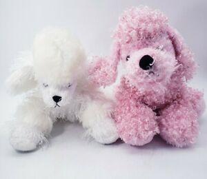 Webkinz Puppy Dog Plush Poodle Set of 2 - Pink Poodle White Poodle NO CODES