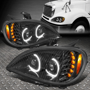 [LED DRL+TURN SIGNAL]FOR 04-17 FREIGHTLINER COLUMBIA DUAL PROJECTOR HEADLIGHT
