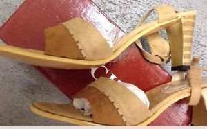 NEW Lucita Womens Shoes 8.5 Or 10 Sling Back Sandal Heels Beige Brown Faux Suede