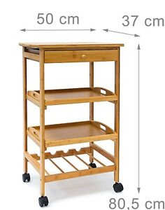 Relaxdays 10019166 Kitchen Trolley Bamboo Rollable Kitchen Wine Rack