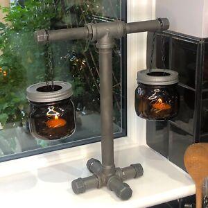 Designer Industrial Steampunk Hanging Mason Jar Candle holder , Decoration