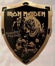 IRON MAIDEN  - BRASS SHIELD lapel pin - FREE SHIPPING  !!!!