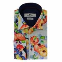 Claudio Lugli Mens Abstract Eye Print Long Sleeve Shirt Blue CP6576