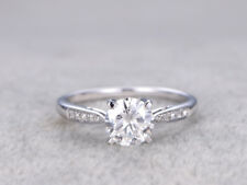 14K White Gold Rings 1.60 Ct Round Cut VVS1 Diamond Engagement Wedding Ring Size
