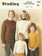 VINTAGE KNITTING PATTERN ARAN JUMPERS FOR ALL WOMEN MEN AND CHILDREN