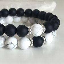 Couples Bracelets Yin Yang Matte Agate White Howlite Beaded Bracelet His and Her
