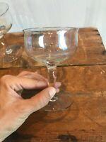 Set 2 Vtg Optic Iridescent Champagne Coupes Glasses Sherbet Cocktail Stemware