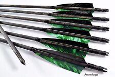 6x Holzpfeile  Langbogenpfeile schwarz camo green Pfeile traditionell Langbogen