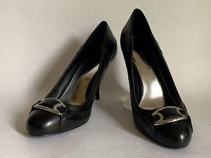 "Karen Millen Black Leather 3.5"" Stiletto Heel Round Toe Court Shoe UK 5 EU 38"