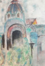 VINTAGE PASTEL DRAWING CATHEDRAL CHURCH