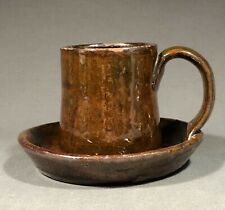 Rare 19th Century American Lead Glazed Redware Socket Cup