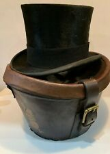 Vintage Antique Lock & Co Silk Top Hat & Leather Hat Box superb Example