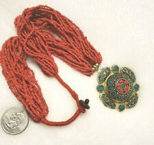 Nepalese Tibetan Brass Multi-strand Beaded Coral Turquoise  Necklace