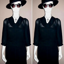 Vintage 1980's Black Pleated Party/Day Dress by Berkertex. Size 12.