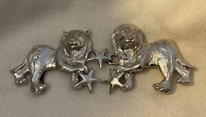 Vintage 1972 MIMI DI N Womens Large Belt Buckle Silver Tone ~ LION w/ STARS 2 Pc