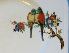 Antique Art Deco Square Tea Side Plate with Parrot Bird on a Branch Design
